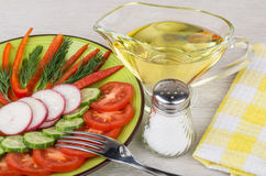 Salad from vegetables, jug of oil, and salt. On table Stock Photography