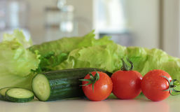 Salad Vegetables in the Kitchen Stock Photography