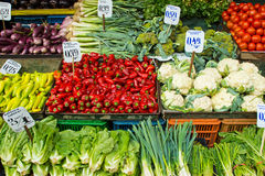 Salad and vegetables on a market Stock Photo