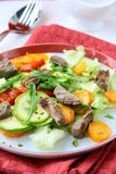 Salad with vegetables and meat grilled Stock Image
