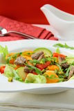 Salad with vegetables and meat grilled Royalty Free Stock Photography