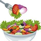 Salad vegetables organic food harvest vector illustration