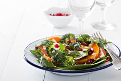 Salad with vegetables, pepperoni and pomergranate Stock Photography
