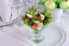 Salad of vegetables with quail eggs Stock Photography