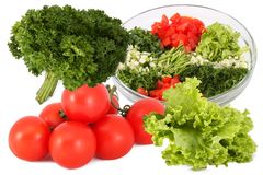 Salad and vegetables separately Stock Images