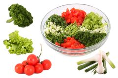 Salad and vegetables separately Royalty Free Stock Image