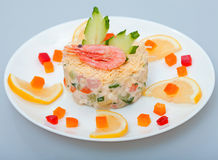 Salad of vegetables and shimp Royalty Free Stock Image