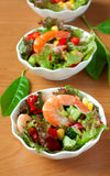 Salad with vegetables and shrimps Royalty Free Stock Photo