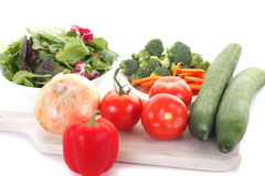 Salad Vegetables on Wood Board Stock Photography