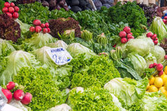 Salad and vegtables for sale. At a market Stock Photos