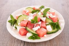 Salad with watermelon, feta cheese and cucumber Royalty Free Stock Photography