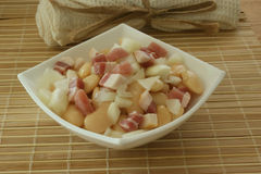 Salad with white bean, onion and bacon Stock Photo
