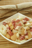 Salad with white bean, onion and bacon Royalty Free Stock Photography
