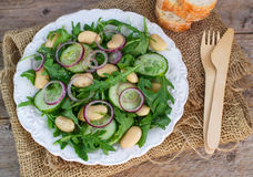 Salad of white beans and arugula. Salad of white beans, arugula, cucumbers and red onion. Rustic style stock photography