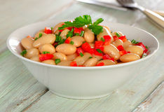 Salad with white beans and fresh herbs Royalty Free Stock Photos