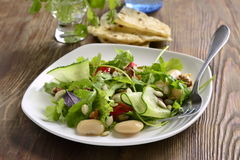 Salad with white beans, greens, cucumbers and sweet peppers Stock Photos