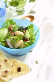 Salad with white beans, greens, cucumbers and sweet peppers Royalty Free Stock Photography