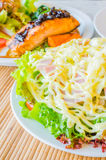 Salad. In white bowl on the table Royalty Free Stock Photos