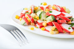 Salad on a white plate Royalty Free Stock Images