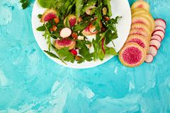 Salad in white plate around Ingredient. Mix leaf radish,lettuce, mangold, parsley,  arugula, almond, salt, tasty, balsamic, pepper. Healthy, diet Clear food Royalty Free Stock Photos