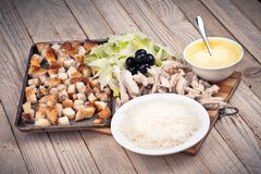 Salad in white white plate Stock Photos