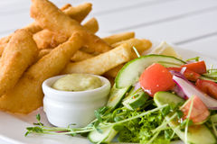 Salad And Whiting Fillets. Close of fresh garden salad with crumbed whiting fillets royalty free stock photography