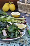 Salad of wild beet leaves with tuna Stock Photo