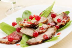 Salad with wild garlic and cranberries Stock Images