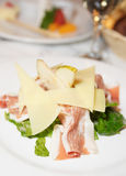 Salad wirh prosciutto ham, pear and  cheese Stock Images