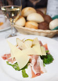 Salad wirh prosciutto ham, pear and  cheese Stock Photo