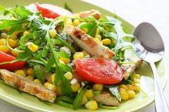 Salad With Grilled Chicken Stock Photos