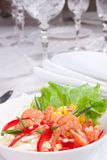 Salad With Prawns And Corn Royalty Free Stock Images