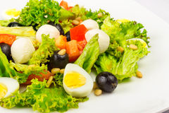 Salad With Quail Eggs And Pepper Royalty Free Stock Photos