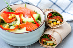Salad With Salmon And Chickpeas With Wraps Royalty Free Stock Photo