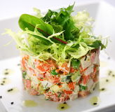Salad With Salmon, Caviar And Arugula Stock Image
