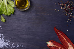 Free Salad With Seasoning Ingredients - Spices, Red Pepper, Olive Oil, Food Frame. Top View, Copy Space. Royalty Free Stock Photography - 69433517