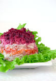 Salad With Vegetables And Herring Royalty Free Stock Photography
