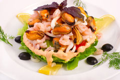 Free Salad With Vegetables And Marine Products Stock Photography - 12229472