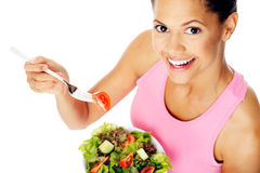 Salad woman happy Stock Image