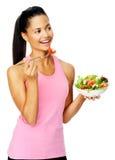Salad woman happy Stock Photo