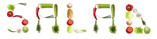 Salad word made of vegetables Royalty Free Stock Photos