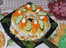 Salada apresentada em uma placa e decorada com ervas e pepinos Fotografia de Stock