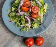 Salada clara fresca do verão com vegetais, azeite e bálsamo italiano com pão casa-feito foto de stock royalty free