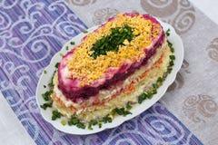 Salada colorida com arenques e vegetais na placa Foto de Stock
