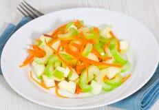 Salada com aipo, cenouras e maçãs Imagens de Stock