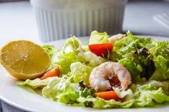 Salada com alface, tomate e camarões Foto de Stock Royalty Free