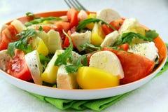 Salada com arugula do tomate e do queijo e petróleo verde-oliva Foto de Stock