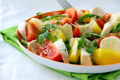 Salada com arugula do tomate e do queijo e petróleo verde-oliva Fotografia de Stock Royalty Free