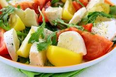 Salada com arugula do tomate e do queijo e petróleo verde-oliva Imagens de Stock