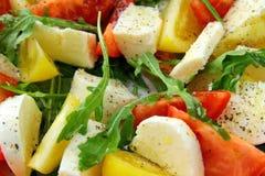 Salada com arugula do tomate e do queijo e petróleo verde-oliva Fotos de Stock